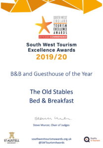 We won an Excellence Award for our bed & breakfast in Somerset